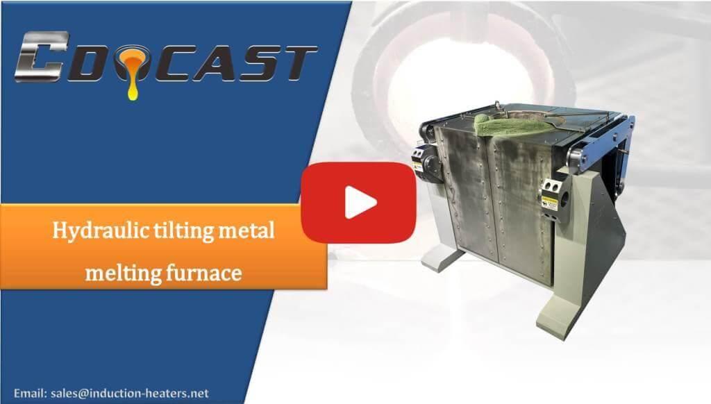 Hydraulic tilting metal melting furnace